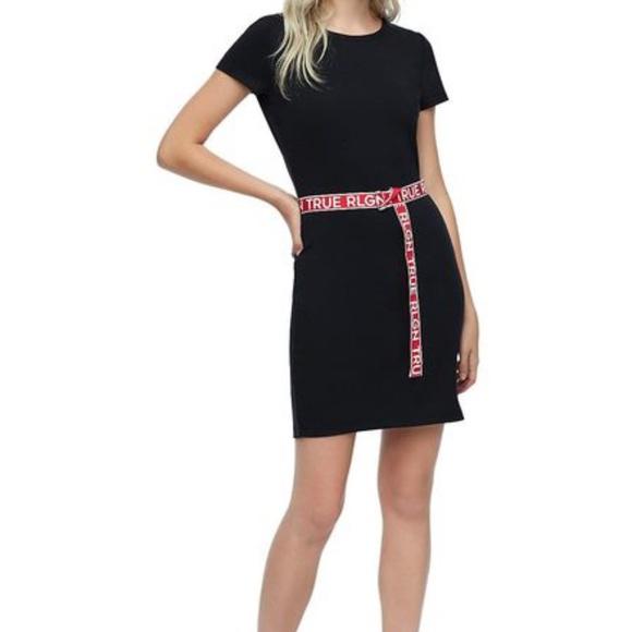 True Religion Womens Belted Bodycon Dress